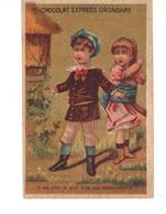"""Chocolat  Express Grondard - Chromo  Doré  2 Jeunes Enfants """"Il Est Avec Le Miel Bien Des Inconvénients"""". - Chocolate"""