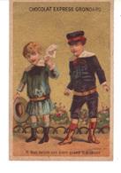 """Chocolat  Express Grondard - Chromo  Doré  2 Jeunes Enfants """"Il Faut Battre Son Frère Quand Il A Chaud"""". - Chocolate"""