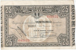 España - Spain 25 Pesetas 1-1-1937 Bilbao Pk-s 563 G Caja De Ahorros Vizcaína Ref 14 - 25 Pesetas