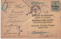 Entier Postal 5ct Reich Taxe 5ct Belgien Auvelais Rhisnes Retour à L'envoyeur Emines 1917 Geprüft Lüttich - Interi Postali