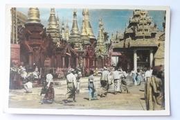Platform Of Shwedagon Pagoda, Rangoon, Myanmar / Burma, Real Photo Postcard RPPC With Stamps - Myanmar (Burma)