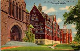 Vermont Burlington College Row University Of Vermont Curteich - Burlington