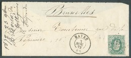 N°30 Obl..LP 173 Sur Enveloppe De HAVRE 3 Novembre 1872 Vers Bruxelles.  Cachet RR. - 14372 - 1869-1883 Leopold II