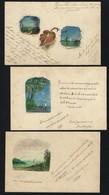 3 Postais Antigos Pintados à Mão SELO 1904. Set Of 3 Handpainted Postcards W/STAMP To RIO DE JANEIRO Brasil BRAZIL - Rio De Janeiro