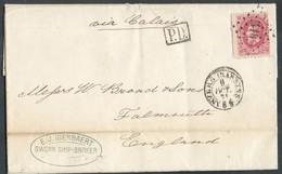 N°34 Obl.LP 416 Sur Lettre De ANVERS (BASSINS) Le 8 Oct. 1871 Vers Falmouth (GB), Via Calais (F). - 14375 - 1869-1883 Léopold II