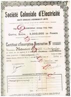 Titre Ancien - Société Coloniale D' Electricité - Société Congolaise à Responsabilité Limitée - Titre De 1923 - Afrique