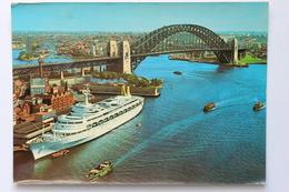 Harbour Bridge With Liner Canberra From A.M.P. Building, Sydney, N.S.W. Australia, 1969 - Sydney