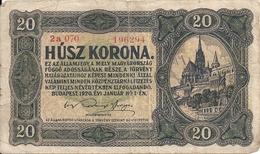 HONGRIE 20 KORONA 1920 VF P 61 - Hungary