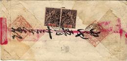 1898 - Enveloppe Chinoise Affr. Paire N° 10  Oblit. SAÏGON-CENTRAL - Indochine (1889-1945)