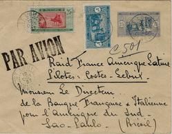 14-20 Oct.1927 Env.de St Louis -Sénégal E P 25 C+ Compl.1,25 F  - Raid France-Amérique Latine -pilotes Costes Et Le Bris - Covers & Documents