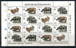 Indonesia 1996 WWF Javan & Sumatran Rhinoceros Sheetlet MUH - Indonesia