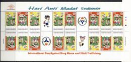 Indonesia 1998 Anti Drug Abuse & Trafficing (folded) Sheetlet MUH - Indonesia