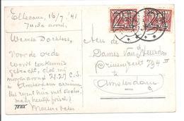Lebeau Guilloche 2 1/2 Cent N.V.P.H. 356 Dubbele Frankering Ellecom. AK De Steeg 1941 Kasteel Middachten - 1891-1948 (Wilhelmine)
