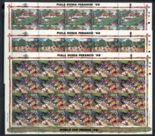Indonesia 1998 World Cup Soccer France 3x Sheet MUH - Indonesia