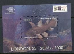 Indonesia 2000 London Stamp Show Fish MS MUH - Indonesia