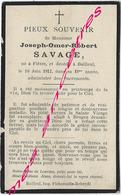 En 1912 Flètre Et Bailleul (59) Joseph SAVAGE 18 Ans - Décès