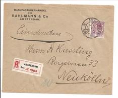 Emissie Veth 30 Cent Donkerlila ENKELVOUDIG Aangetekend Amsterdam>Berlin Neukölln - 1891-1948 (Wilhelmine)