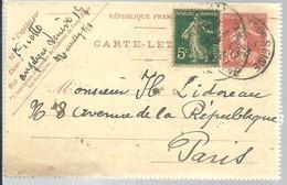 CARTE LETTRE NEUILLY S/SEINE 1917 - Enteros Postales