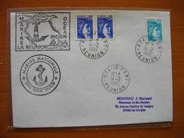 Réunion : Deux Lettres Du Port Avec Cachets Marine Nationale OCI  Et Marine Nationale Unité Marine  (1985) - Isola Di Rèunion (1852-1975)