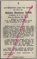En 1965 Strazeele (59) Présidente LFACF Madeleine DEKEN Ep Paul SOOTS - Décès