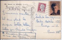 VIGNETTE JOHNNY HALIDAY SLC- SALUT LES COPAINS- OBLITEREE- 1963- SUR CPSM MEUDON- RARE - Curiosidades: 1960-69 Cartas