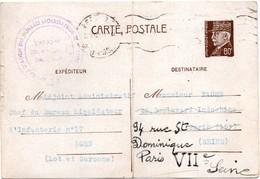 Bureau Liquidateur D'Infanterie Agen 1941 - Carte Entier Pétain - Scan Recto-verso - 2. Weltkrieg 1939-1945