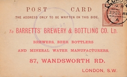 UK: London 1886: Brewery&Bottling-Mineral Water, Ganzsache - Autres - Europe