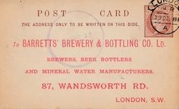 UK: London 1886: Brewery&Bottling-Mineral Water, Ganzsache - Otros - Europa