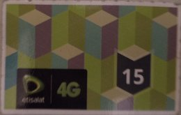 "Egypt - Etisalat Small Size Phone Card ""USED"" 15 LE   (Egypte) (Egitto) (Ägypten) (Egipto) (Egypten) Africa - Egypt"