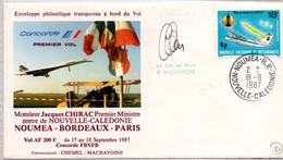 Vol Concorde Nouméa Bordeaux Paris 1987 Avec Premier Ministre Chirac - Calédonie - Covers & Documents