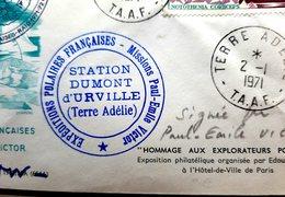 ANTARTIQUE PAUL EMILE VICTOR POLE SUD TERRE ADELIE COURRIER 4 ENVELOPPES AVEC SIGNATURE DE P E VICTOR TIMBRES 1971/2000 - Missions