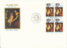 Vatican FDC 9-12-1977 RUBENS In Block Of 4 With Cachet - FDC