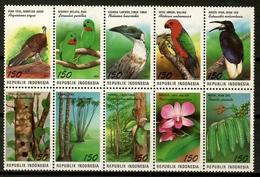 Indonesia 1994 / Birds Flowers MNH Vögel Blumen Aves Flores Fleurs Oiseaux / Cu12421  33-44 - Pájaros