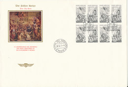Vatican FDC 20-5-1977 VI Centennial Pope Gregorius XI Return In Block Of 8 With Cachet - FDC