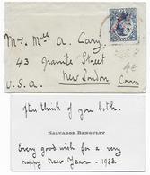 MAROC ESPAGNOL - 1933 - ENVELOPPE + CARTE De VISITE => NEW LONDON (USA) - Marocco Spagnolo