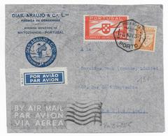 PORTUGAL - 1937 - ENVELOPPE Par AVION PUB ILLUSTREE De MATOZINHOS => PARIS - 1910-... République