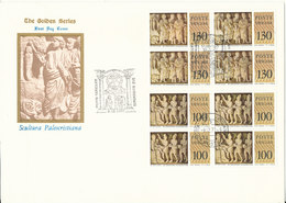 Vatican FDC 9-12-1977 Art Sculpture Reliefs Complete Set Of 6 In Block Of 4 On 3 Covers With Cachet - FDC
