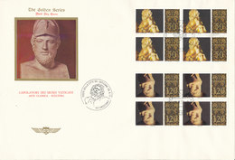 Vatican FDC 29-9-1977 Classic Art Sculpture Complete Set Of 6 In Block Of 4 On 3 Covers With Cachet - FDC