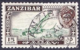 ZANZIBAR 1957 15 Cents Green & Sepia SG360 Fine Used - Zanzibar (...-1963)