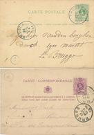 207/29 --  2 X Entier Lion Couché THOUROUT 1878/81 Vers BRUGES ( Cachets De Facteurs ) - Postkaarten [1871-09]