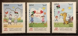 Libya 2017 NEW MNH Set In One Pane - National Children's Day Drawings 3v Strip Camels Flags - Libya