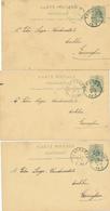 208/29 --  3 X Entier Lion Couché THOUROUT 1893 Vers Laga , Drukker à EERNEGHEM - Annonces De Naissances , Décès , Etc.. - Postkaarten [1871-09]