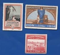 3 Vignettes     Exposition Internationale De Lyon  Année 1914 - Commemorative Labels