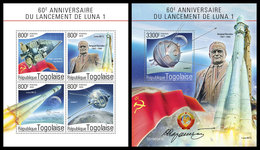 TOGO 2019 - Luna 1, S. Korolev. M/S + S/S. Official Issue - Space