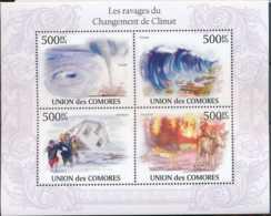 [90394]SUP//**/Mnh-Comores N° 1927/30, Ravages Du Changement De Climat, Tornade, Tsunami, Inondation, Feu De Forêt - Protection De L'environnement & Climat