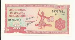 Burundi 20 Francs 2007 UNC - Burundi