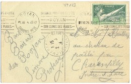 JEUX OLYMPIQUES DE PARIS  1924 - 10 C. YT 183 TIMBRE SEUL Sur CP OMec KRAG ROYAN Du 1 VIII 24 - Marcophilie (Lettres)