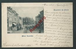 Souvenir De Herve - Place Lecomte. Animation, Commerces,... Superbe Carte Circulée En 1899 - Herve