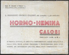 PUBBLICITA' - HORMO - HEMINA CALOSI - SU CARTA ASSORBENTE USATA - 19,50 X 15,50 - F