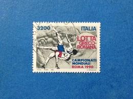 1990 ITALIA SPORT LOTTA GRECO ROMANA FRANCOBOLLO USATO STAMP USED - 6. 1946-.. Republic